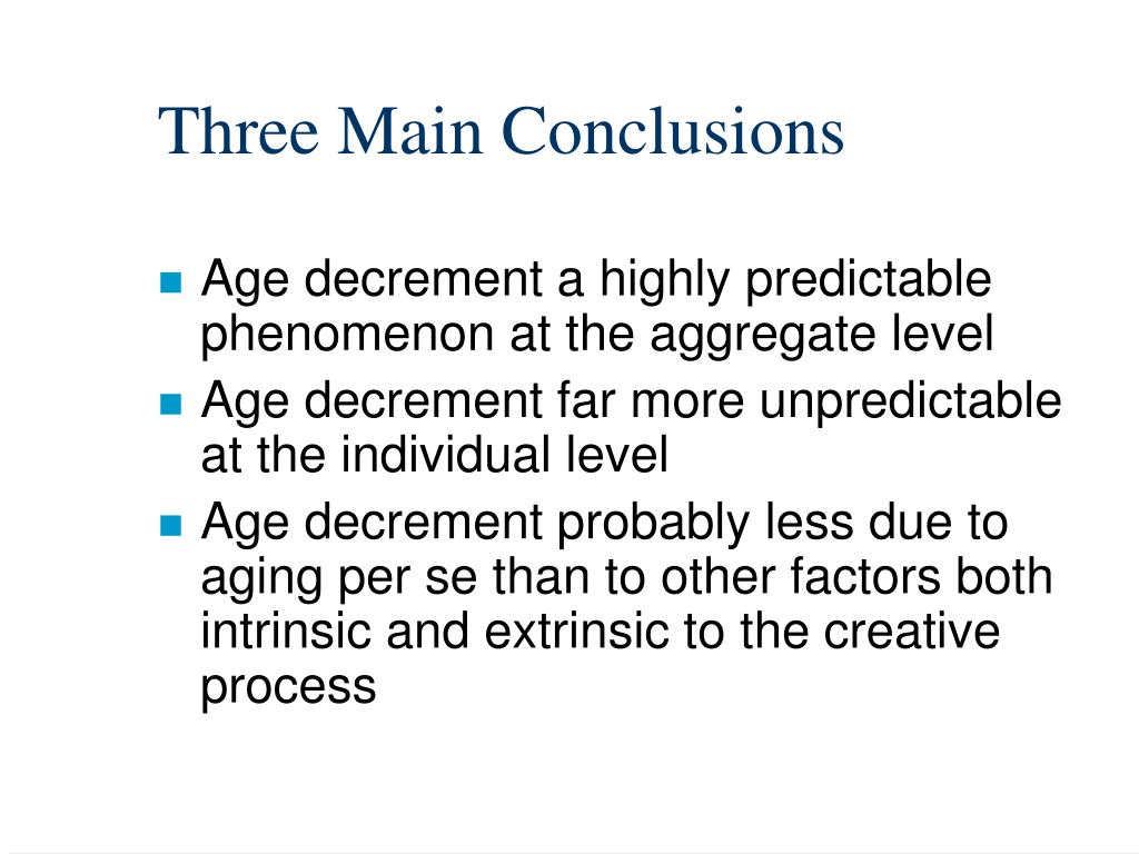 Three Main Conclusions