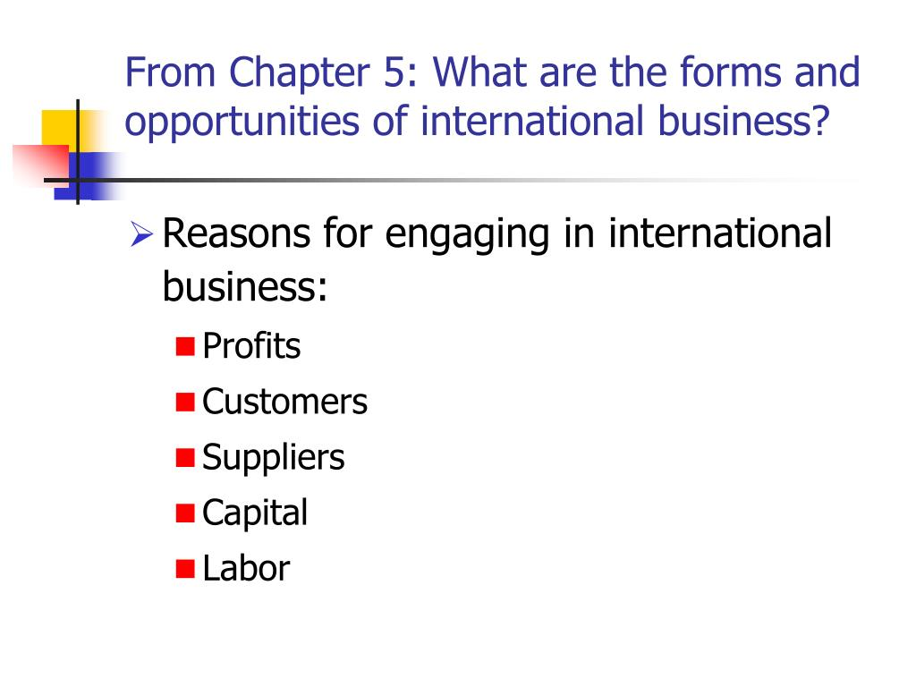 From Chapter 5: What are the forms and opportunities of international business?