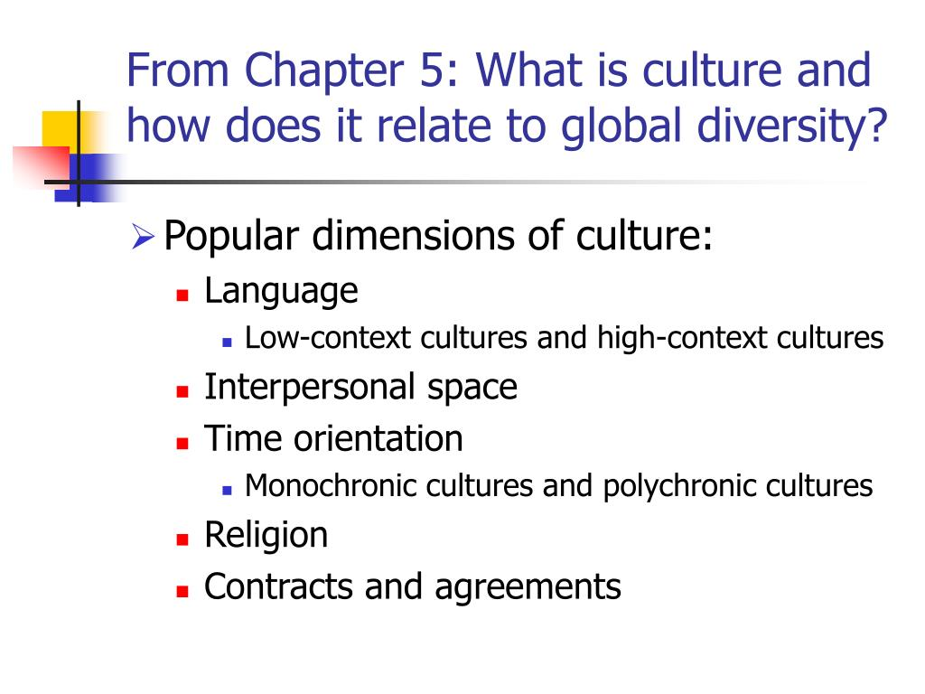 From Chapter 5: What is culture and how does it relate to global diversity?