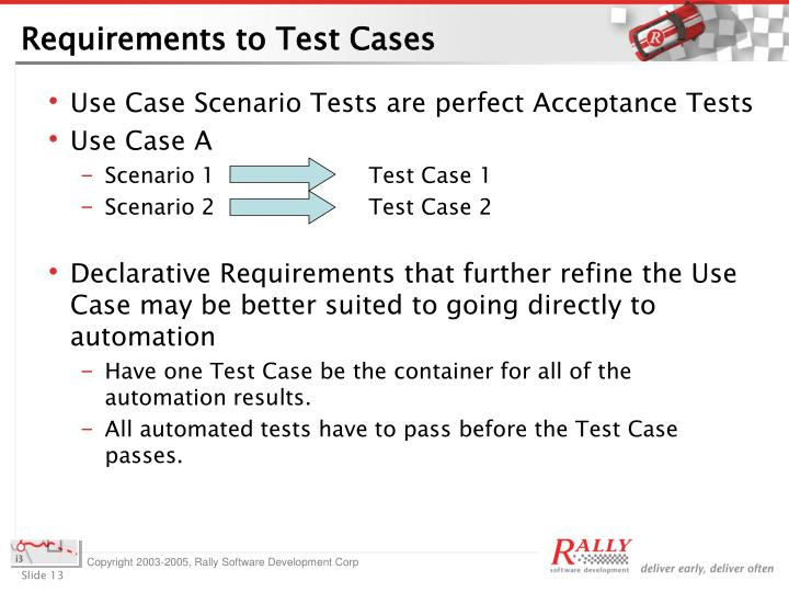 Requirements to Test Cases