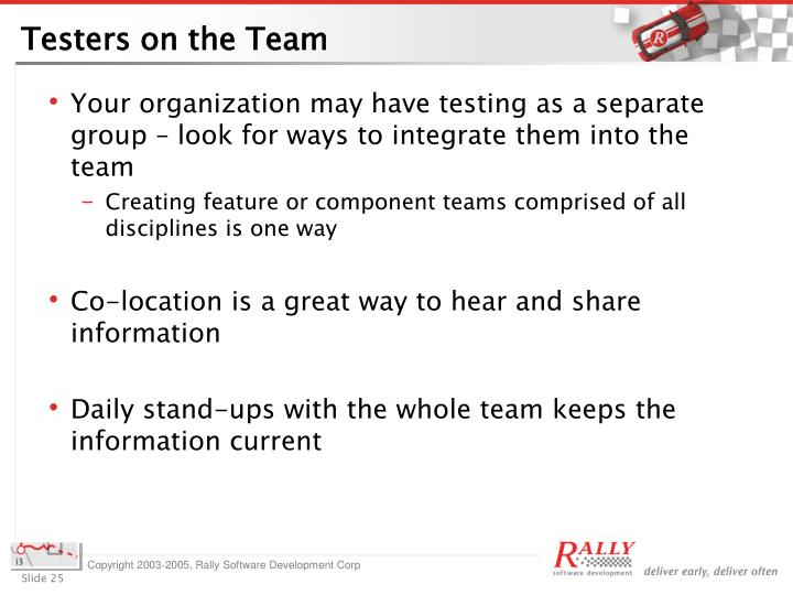 Testers on the Team