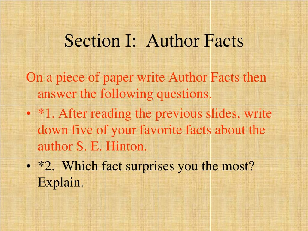 Section I:  Author Facts