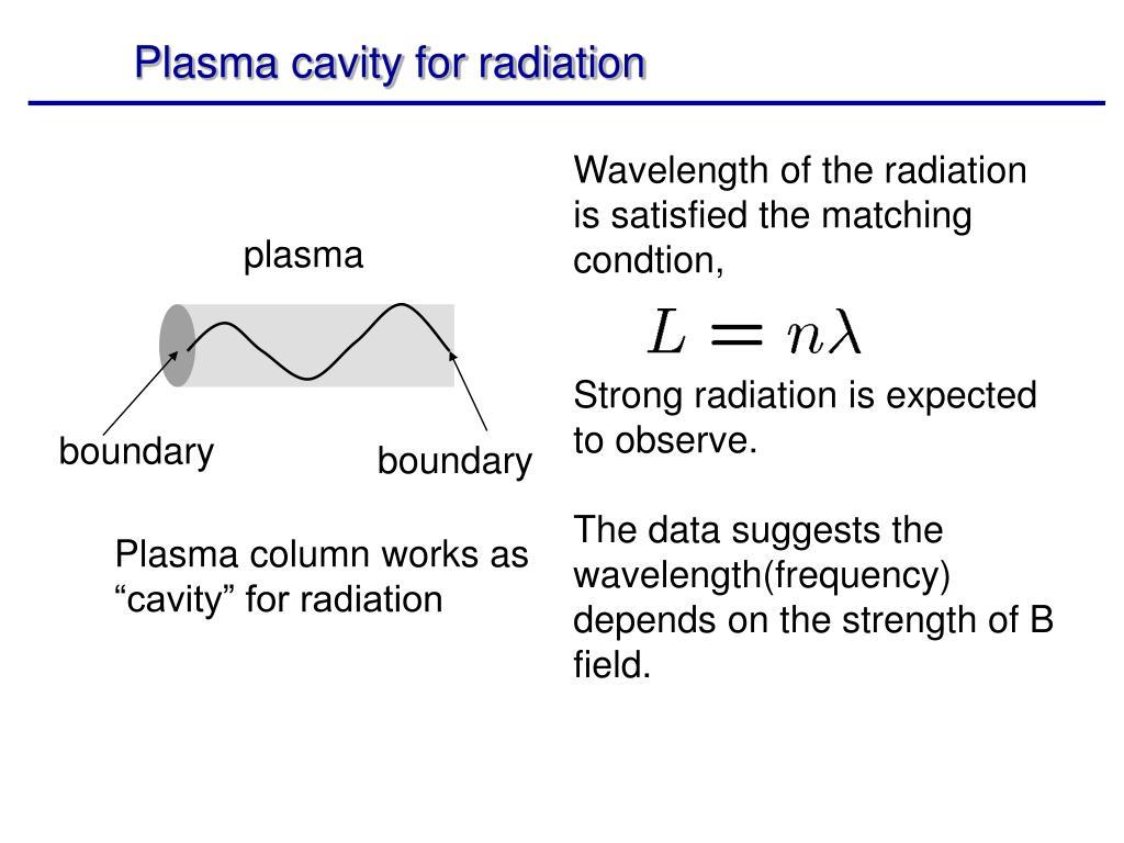 Plasma cavity for radiation