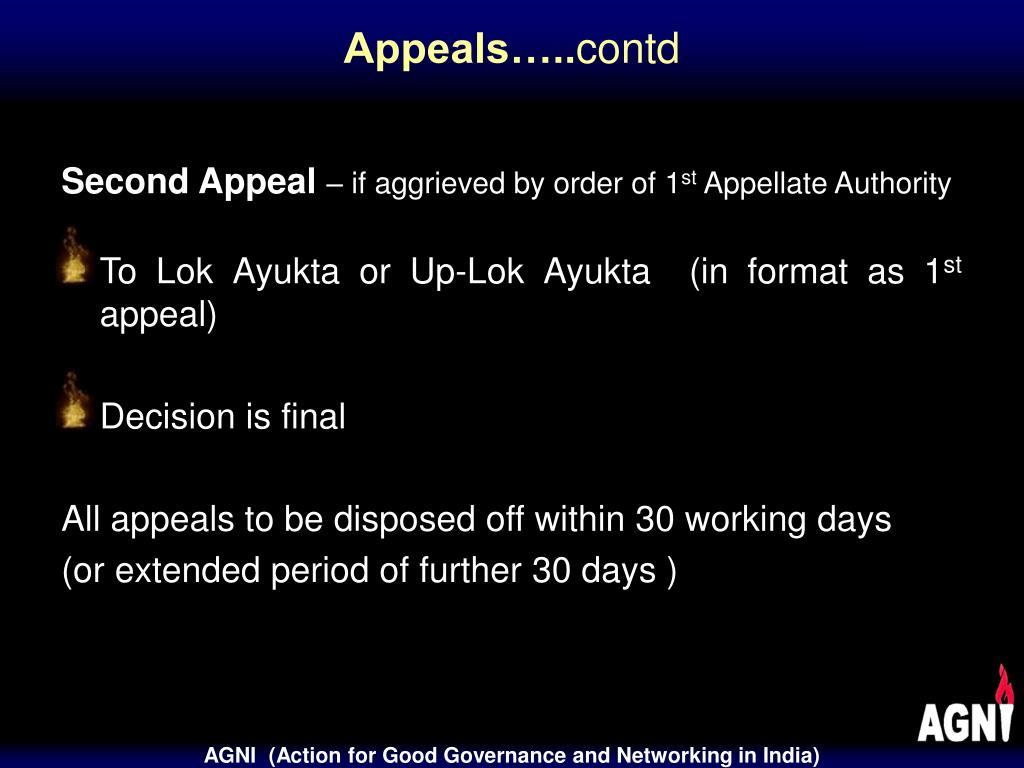 Appeals…..