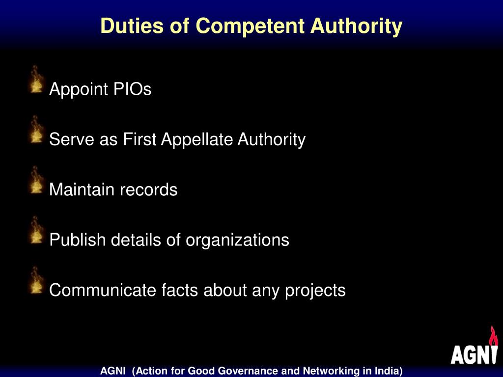 Duties of Competent Authority