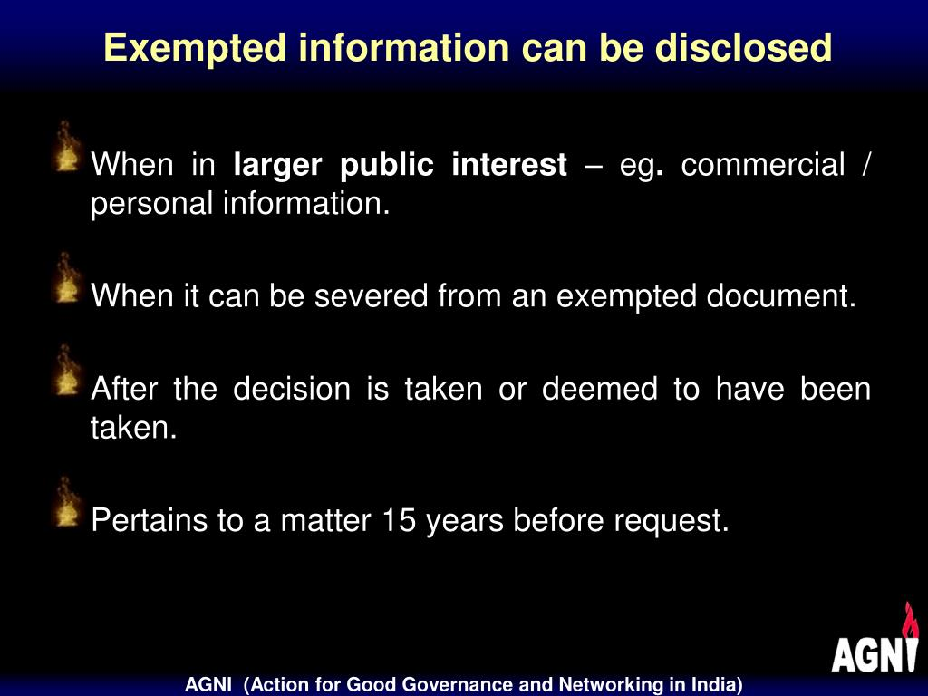 Exempted information can be disclosed