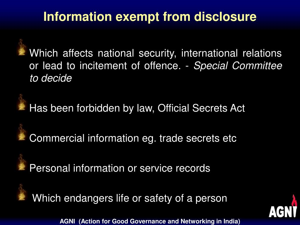 Information exempt from disclosure
