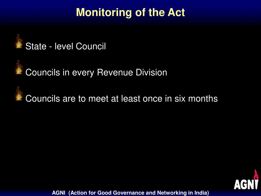 Monitoring of the Act