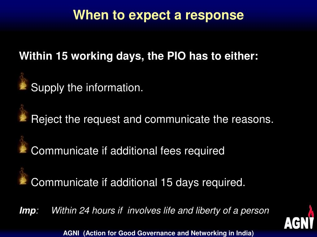 When to expect a response