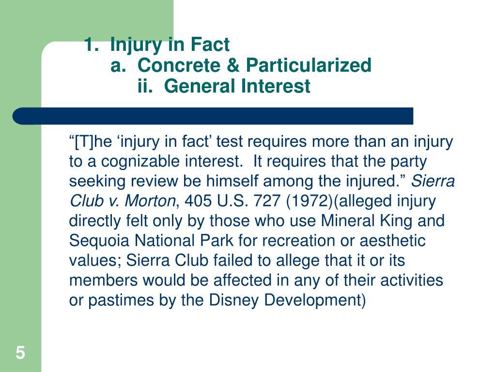 1.  Injury in Fact