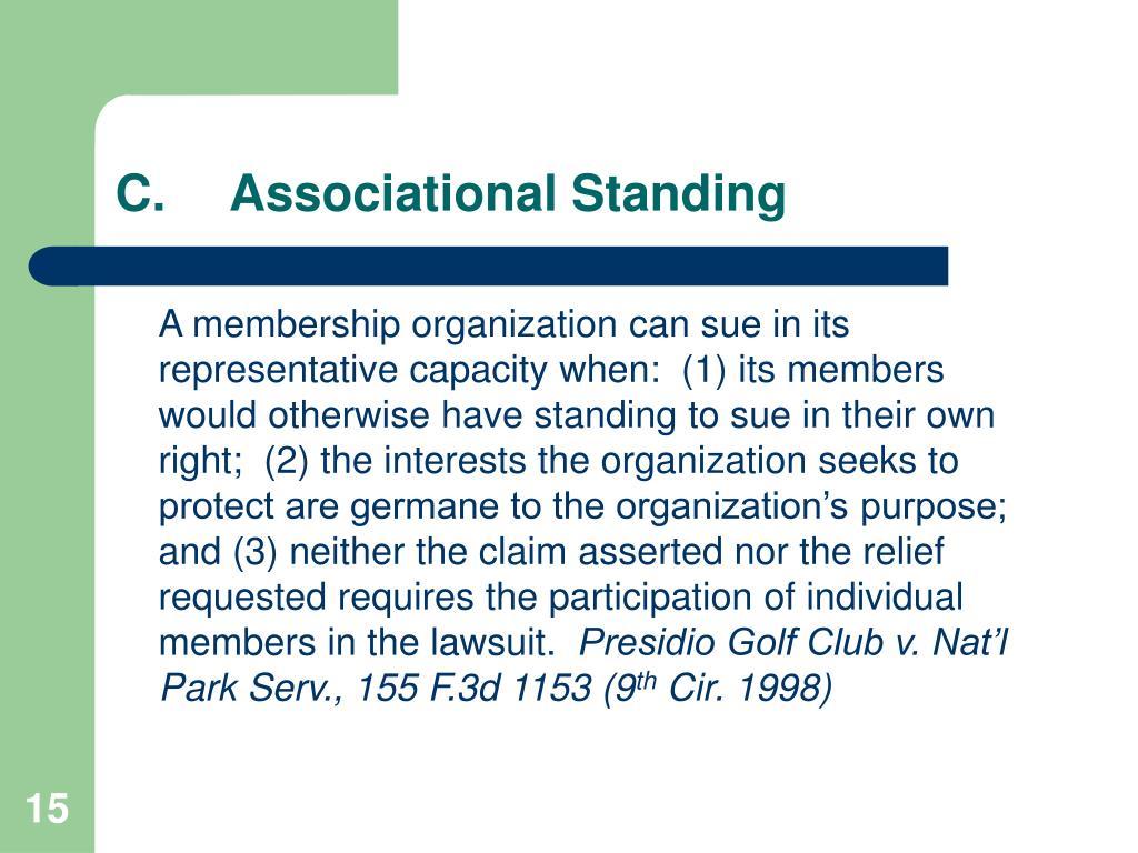 C.Associational Standing