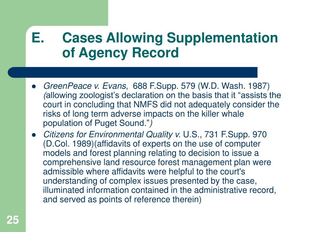 E.Cases Allowing Supplementation of Agency Record