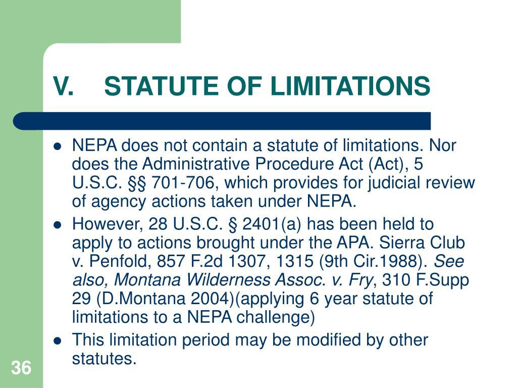 V.STATUTE OF LIMITATIONS