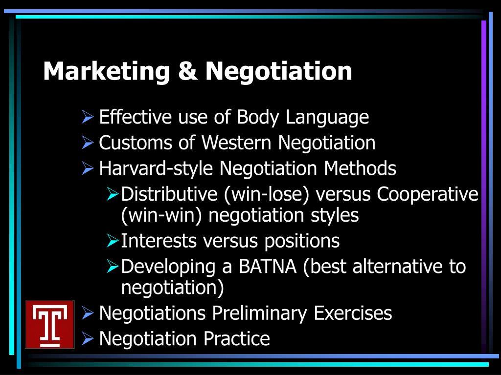 Marketing & Negotiation