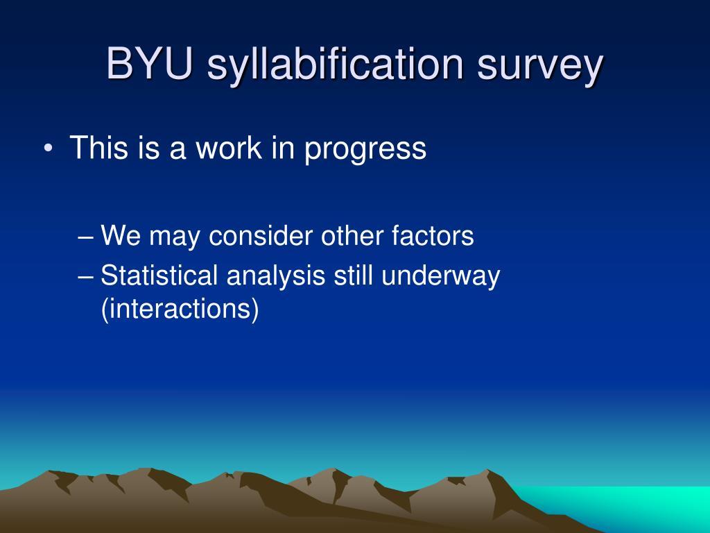BYU syllabification survey