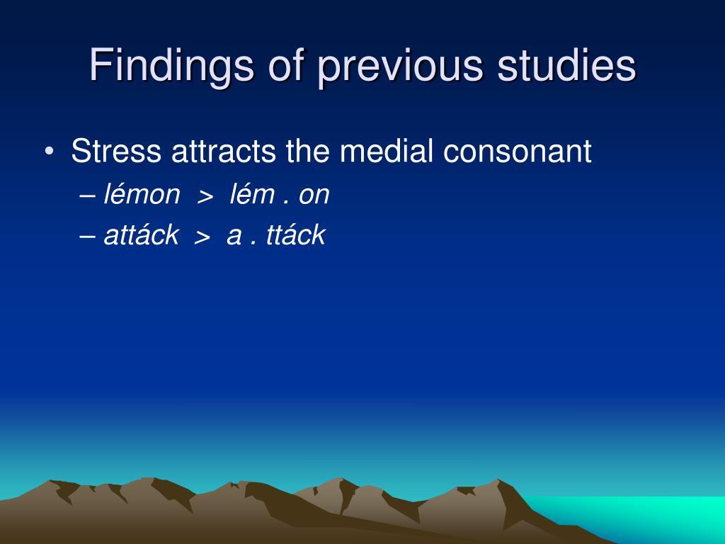 Findings of previous studies
