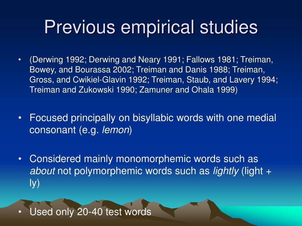 Previous empirical studies