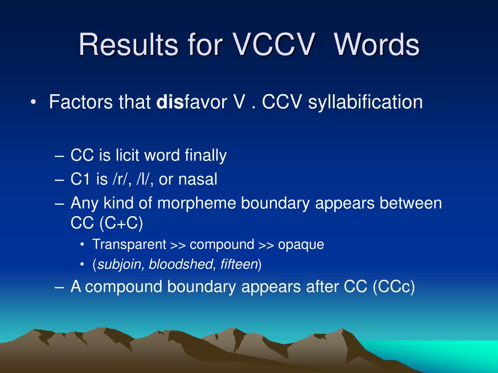 Results for VCCV  Words