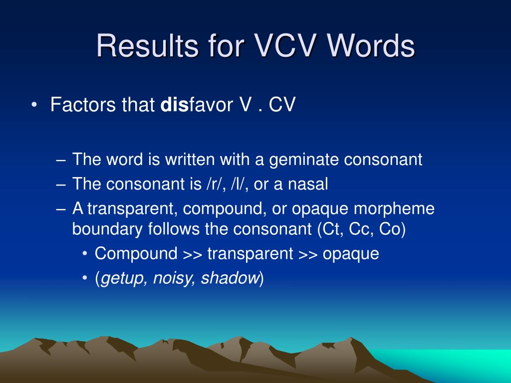 Results for VCV Words