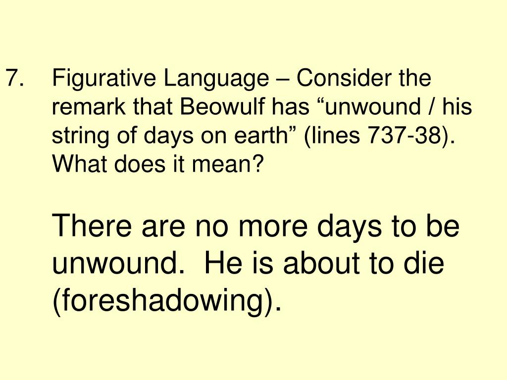 "Figurative Language – Consider the remark that Beowulf has ""unwound / his string of days on earth"" (lines 737-38). What does it mean?"