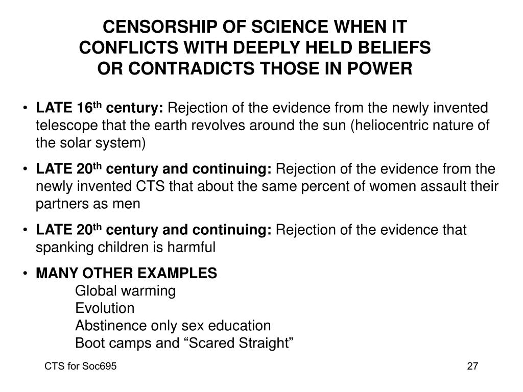 CENSORSHIP OF SCIENCE WHEN IT CONFLICTS WITH DEEPLY HELD BELIEFS OR CONTRADICTS THOSE IN POWER