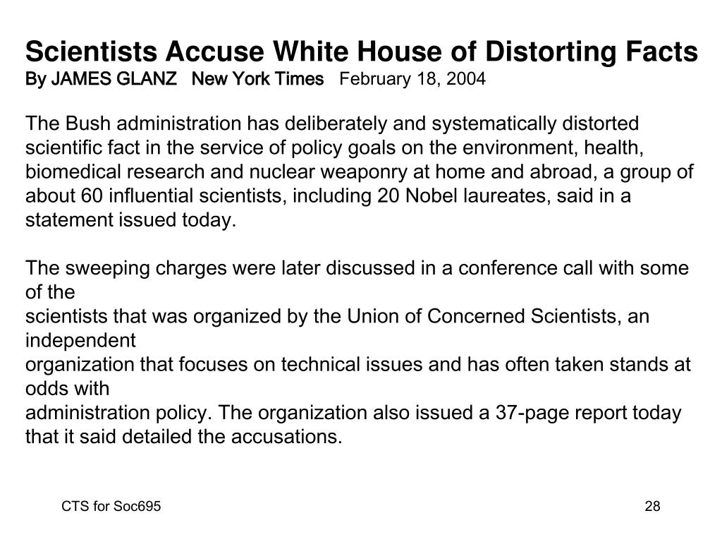 Scientists Accuse White House of Distorting Facts