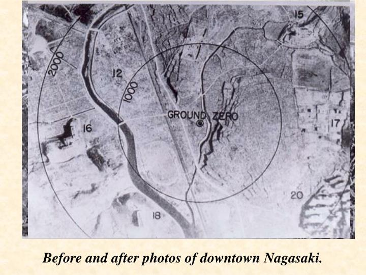 Before and after photos of downtown Nagasaki.