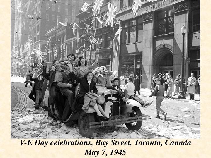 V-E Day celebrations, Bay Street, Toronto, Canada
