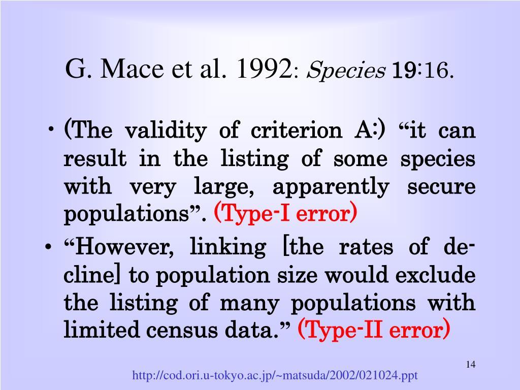 G. Mace et al. 1992