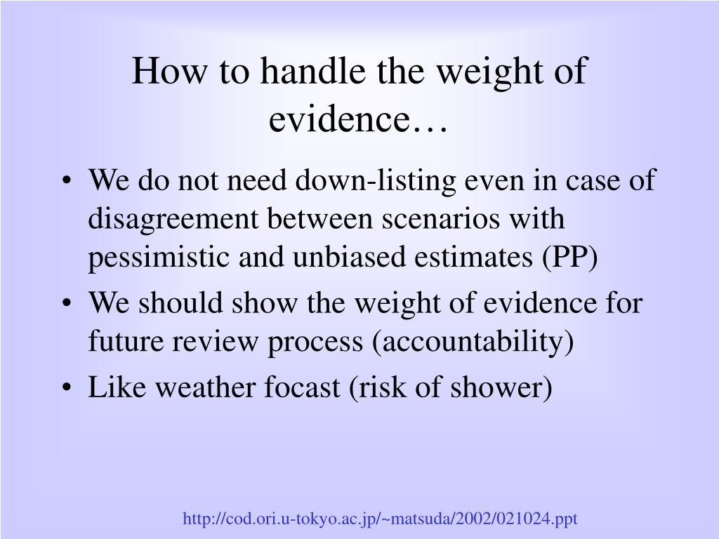 How to handle the weight of evidence…