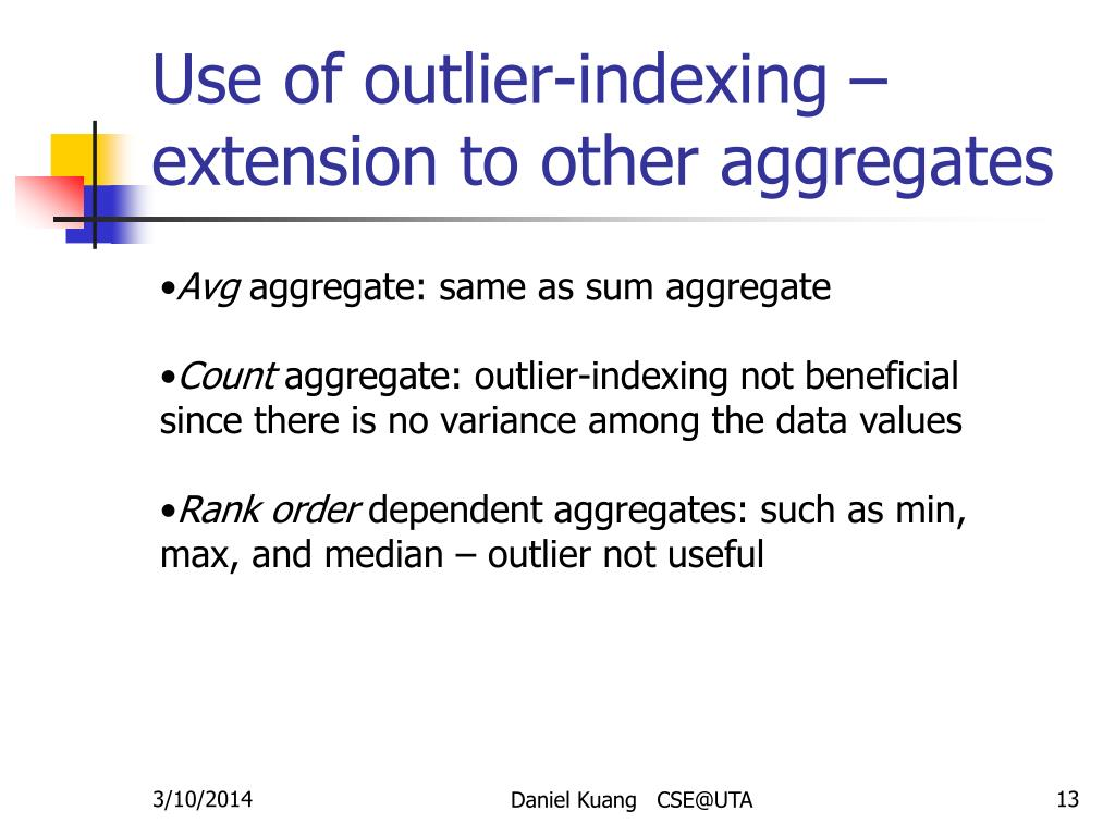 Use of outlier-indexing – extension to other aggregates