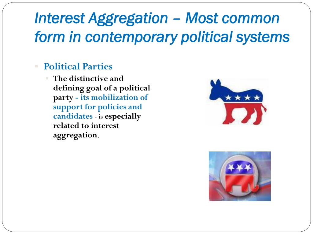 Interest Aggregation – Most common form in contemporary political systems