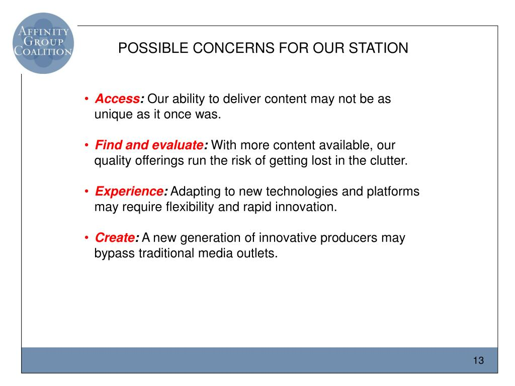 POSSIBLE CONCERNS FOR OUR STATION