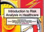 introduction to risk analysis in healthcare