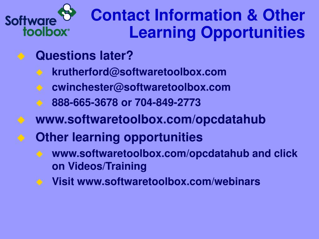 Contact Information & Other Learning Opportunities