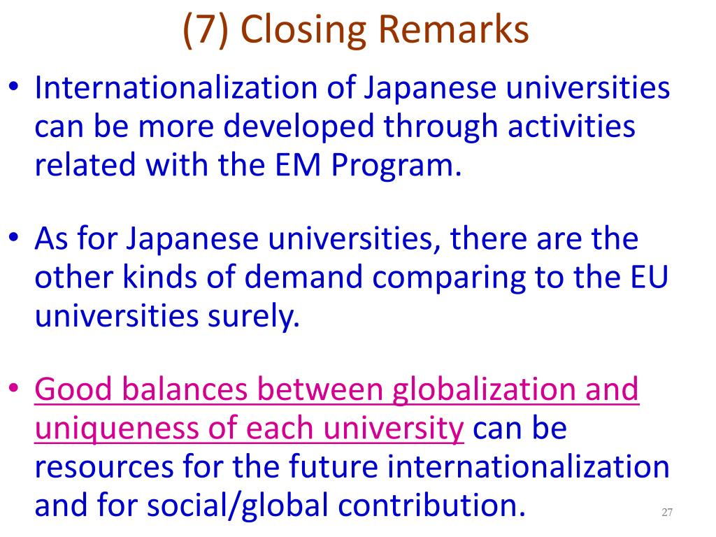 (7) Closing Remarks