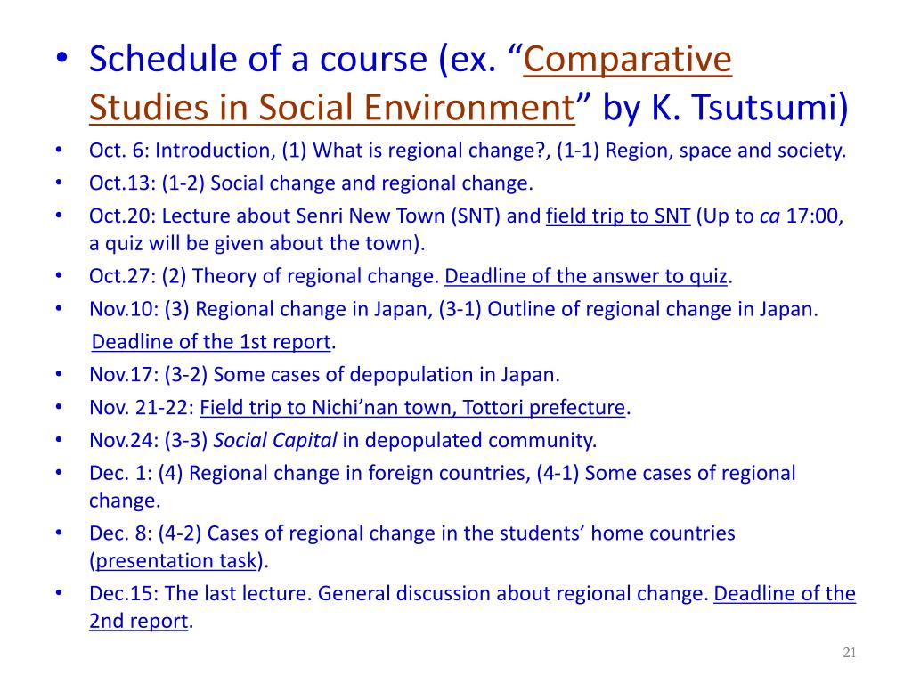 Schedule of a course (ex. ""