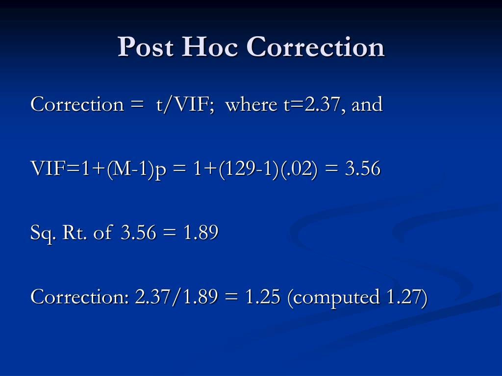 Post Hoc Correction