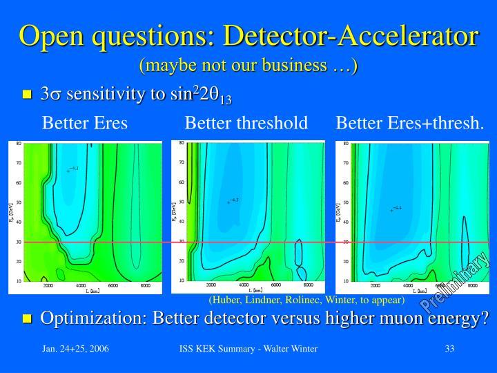 Open questions: Detector-Accelerator