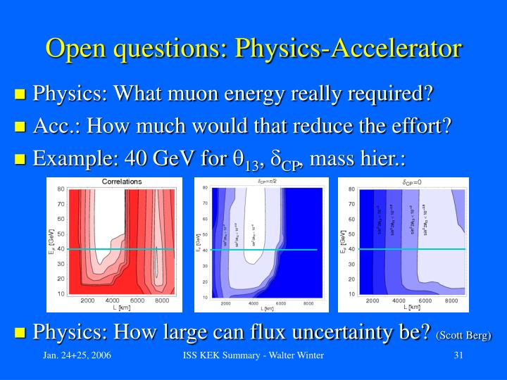 Open questions: Physics-Accelerator