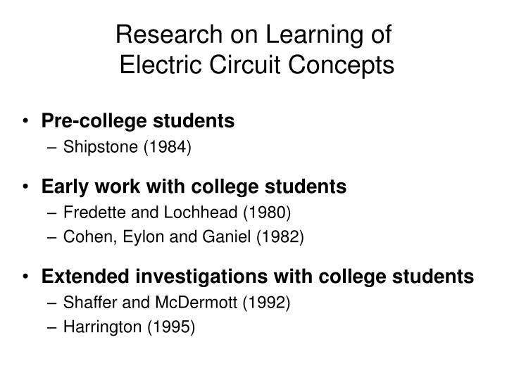 Research on learning of electric circuit concepts