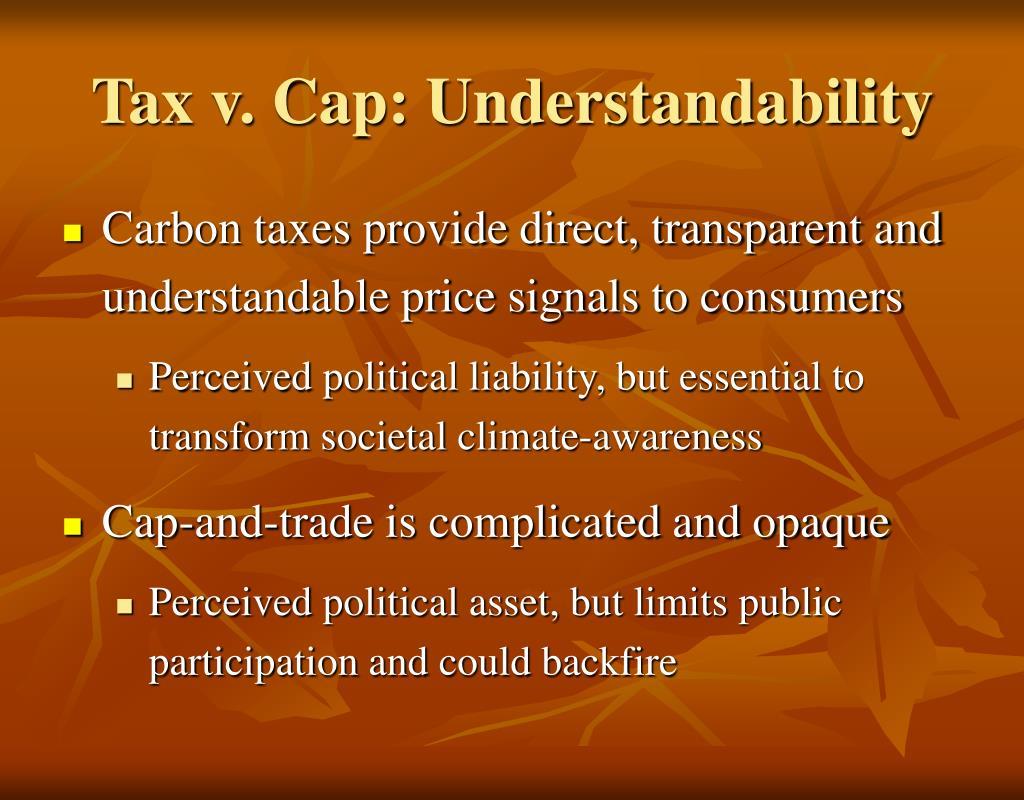 Tax v. Cap: Understandability
