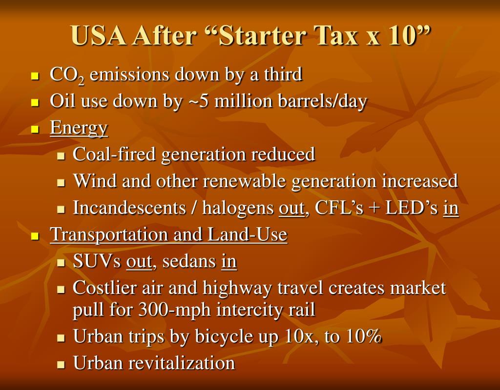 """USA After """"Starter Tax x 10"""""""
