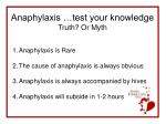 anaphylaxis test your knowledge truth or myth