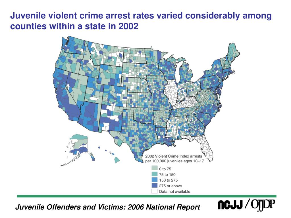 Juvenile violent crime arrest rates varied considerably among counties within a state in 2002