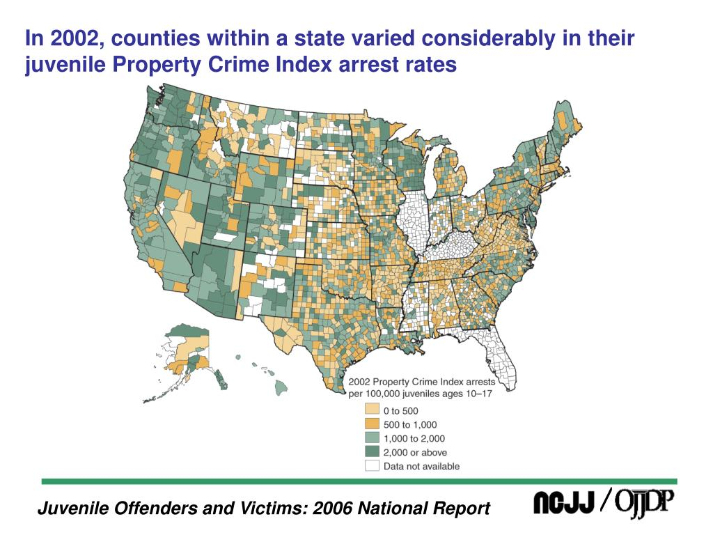 In 2002, counties within a state varied considerably in their juvenile Property Crime Index arrest rates