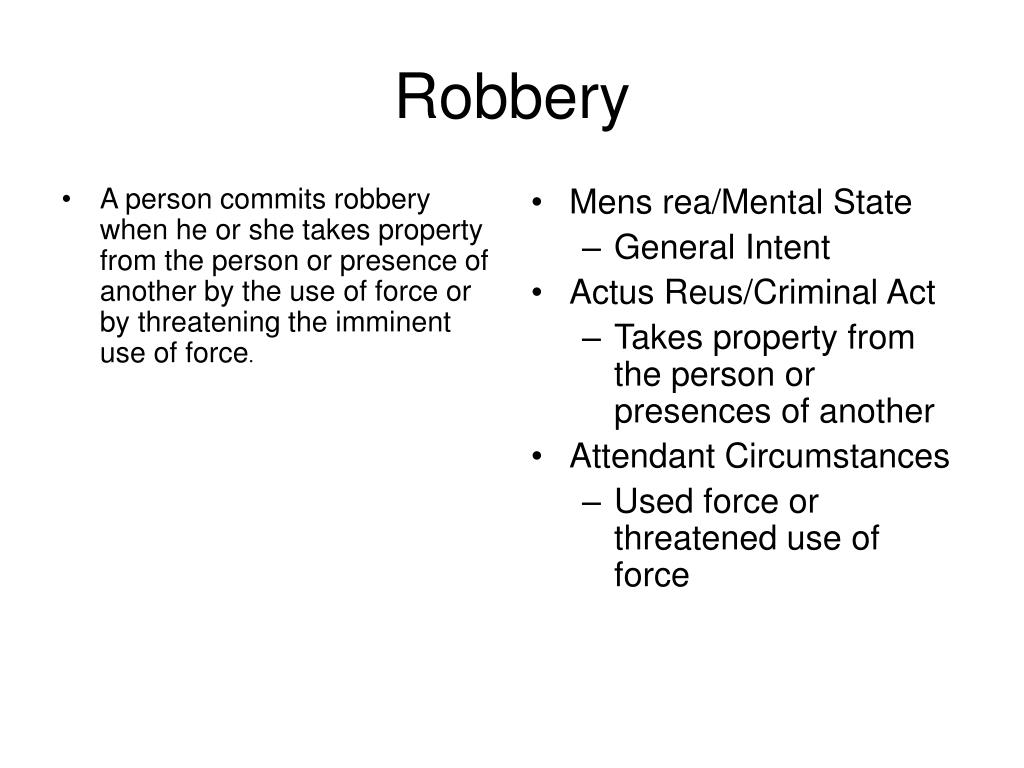 A person commits robbery when he or she takes property from the person or presence of another by the use of force or by threatening the imminent use of force