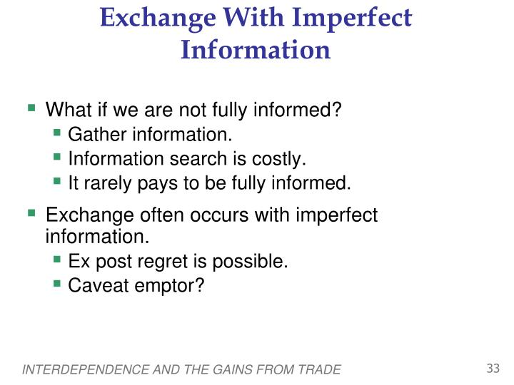 Exchange With Imperfect Information