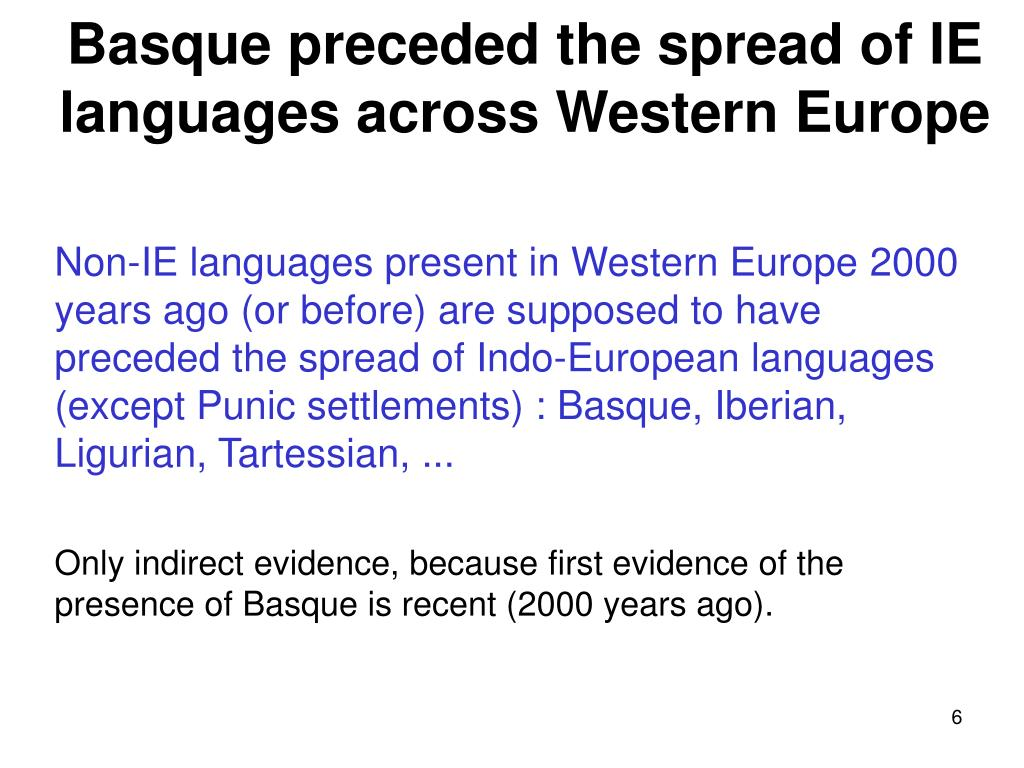 Basque preceded the spread of IE languages across Western Europe