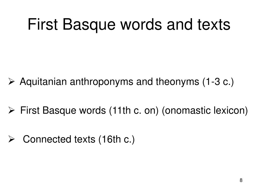 First Basque words and texts